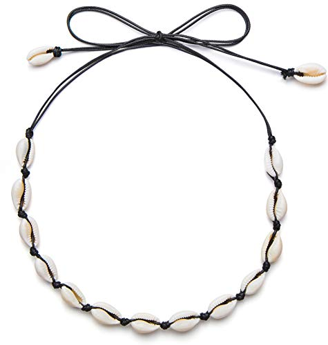 - Qceasiy Women Puka Shell Choker Necklace Summer Beach Natural White Shell Necklace(Black Rope)