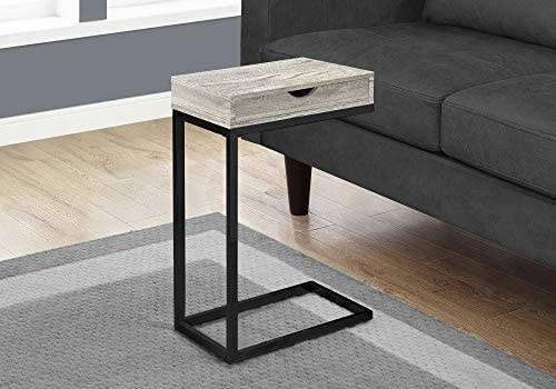 Monarch Specialties GREY RECLAIMED WOOD-LOOK/BLACK/DRAWER ACCENT