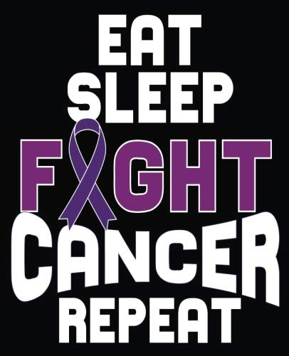 Eat Sleep Fight Cancer Repeat: Pancreatic Cancer Awareness Composition Notebook Back to School 7.5 x 9.25 Inches 100 College Ruled Pages Journal Diary Gift Purple Ribbon