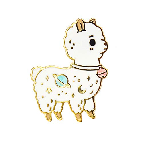 Noristudio Galaxy Alpaca Enamel Pin for Alpaca Lovers and Llama Lovers (White)