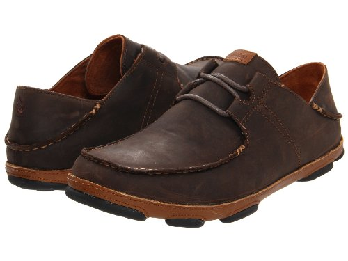 OLUKAI Men's Ohana Lace Up Nubuck Dark Wood/Toffee 11 D US