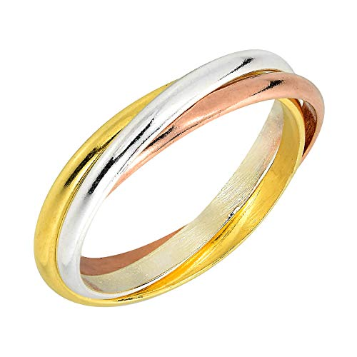 Tri Ring Color Silver Sterling - AeraVida Tricolor Triple Tangle Hoop .925 Sterling Silver Ring (8)