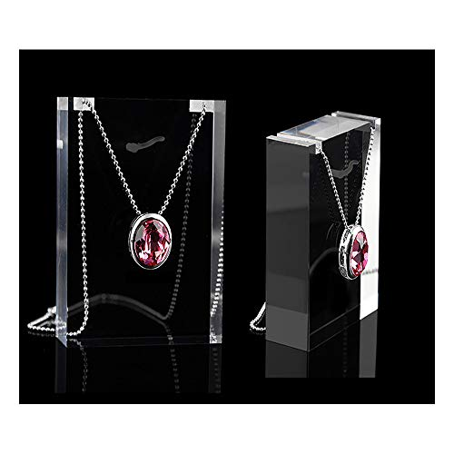 Modern Acrylic Necklace Display Blocks Stands Fine Jewelry Exhibition Premium Grade Clear Contemporary Gallery Photo Store (Set of 2 PCs)
