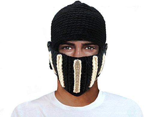 GIANCOMICS Roman Cosplay Knight Helmet Visor Knit Beanie Hat Winter Mask Cap Black (Roman Head Wear)