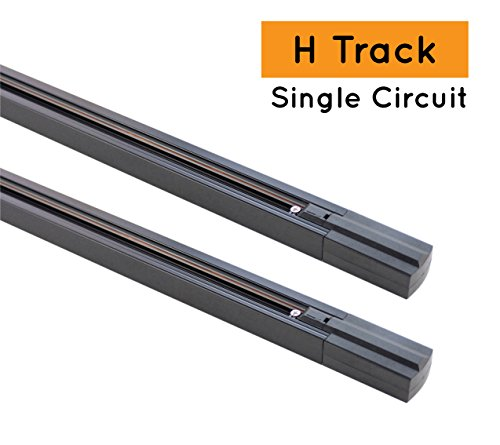 J.LUMI Track Light Rails, H type, Black, 3 Feet, SINGLE C...