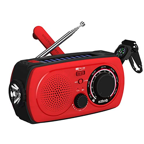 Solar Emergency NOAA Weather Radio  (2018 Radio) Portable Hand Crank Shortwave Radio Am Fm Flashlight SOS Alert Cell Phone Charger 2300mAh Power Bank iPhone/Smart Phone ezbnb