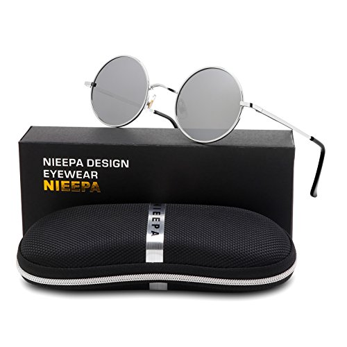 NIEEPA John Lennon Vintage Round Polarized Hippie Sunglasses Small Circle Metal Driving Sun Glasses (Mercury Lens/Silver - Mens Sungalsses