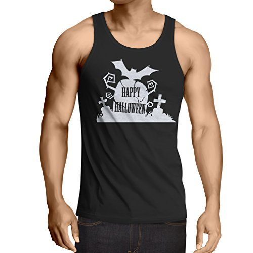 lepni.me Men's Tank Top Halloween Graveyard Outfits - Horror Design - All Saints' Eve - All Hallows' Evening (XXXXX-Large Black Multi Color)