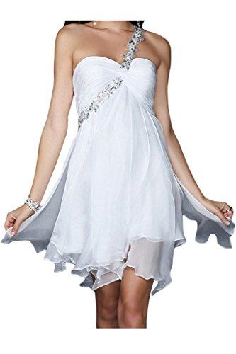 Ange Mariée 2016 Robe De Demoiselle D'honneur Ourlet Asymmentical Robe De Bal D'une Épaule Blanche