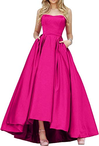 (Strapless Prom Dresses for Women High Low Long Satin Evening Gown with Pockets Fuchsia Size 4)