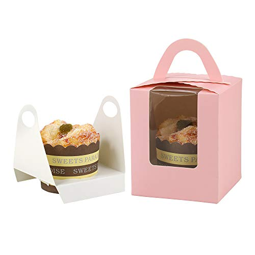 Barwa Single Cupcake Boxes with Inserts Window Handle Individual Baking Bakery Cake Boxes Container for Cupcake Muffins for Wedding Birthday Baby Shower Party Crafting Easy to Assemble 50 Count by Barwa