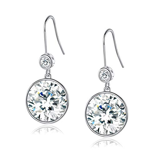 18K White Gold Sparkle Crystal Round Drop Earrings Crystals from Swarovski for Women Girl Party Jewelry Elegant Gifts