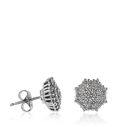 Gioiello Italiano Boucles d'oreilles en or blanc en forme octogonale avec diamants