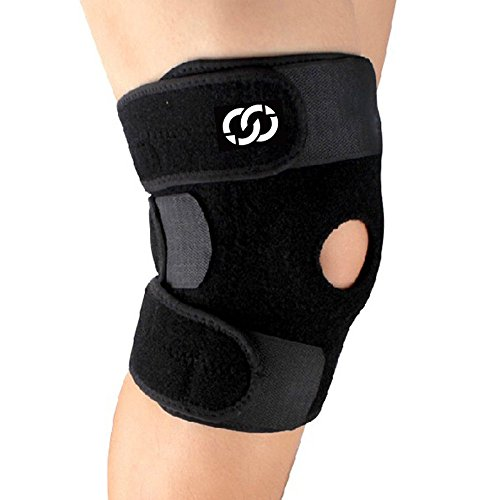 Elastic Knee Stabilizer (Knee Brace Support - Neoprene Open Patella Stabilizer with Adjustable Veclro for Meniscus Tear, Arthritis, ACL, Sports, Running, Basketball for Men & Women - Braces by Compressions)
