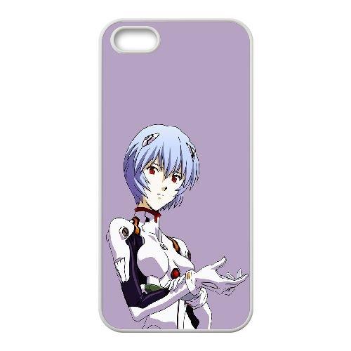 Ayanami Rei coque iPhone 5 5S Housse Blanc téléphone portable couverture de cas coque EBDOBCKCO11669
