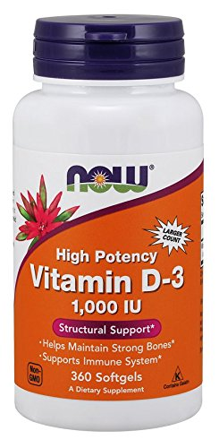 Now Foods Vitamin D3 1000 IU - 360 softgels (Pack of 2)