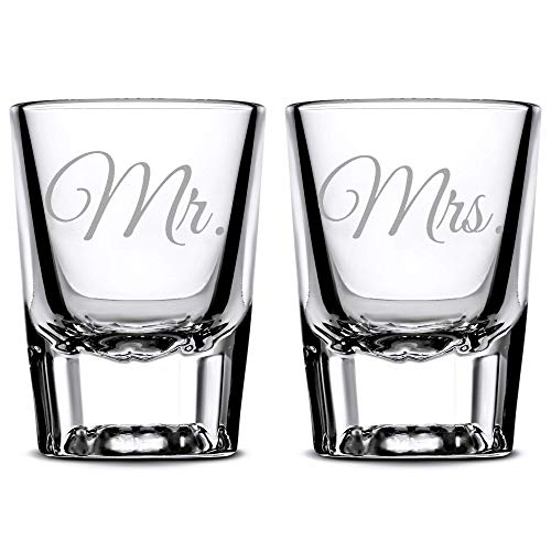Premium Wedding Shot Glasses, Mr. and Mrs, Hand Etched Shot Glasses, Made in USA, Whiskey Gifts, Set of 2, Sand Carved by Integrity Bottles]()