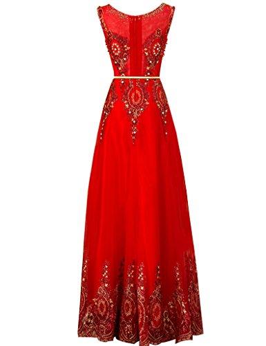 Partei kleider Abendkleid Rot Erosebridal Stickerei Spitze abschlussball Lange nYPwxqzxH