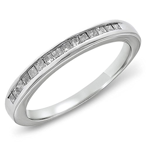 1/3 CTW Princess Diamond Channel Sterling Silver Wedding Band, Size 7