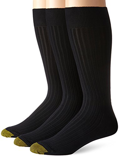 - Gold Toe Men's Classic Canterbury Crew Socks (Pack of 3), Black, Shoe Size: 12-16