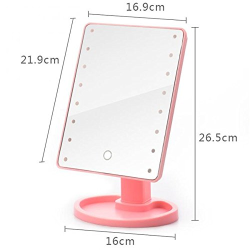GF Wood Led Touch Screen Mirrors 360 Degrees Rotation Makeup Mirror Adjustable 16/22 Leds Lighted Portable Luminous Cosmetic Mirrors,Pink 22 Led by GF Wood (Image #5)