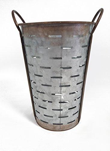 Galvanized Metal Olive Bucket, Medium (Olive Basket)