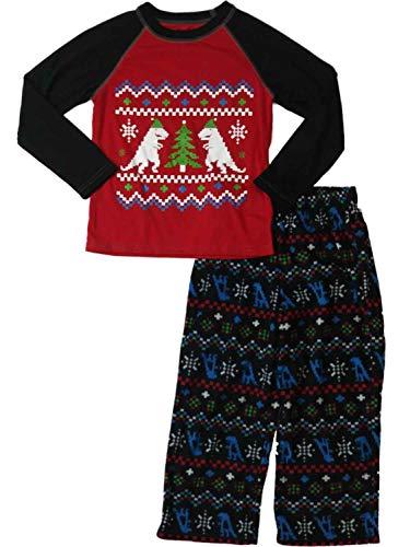 Little Boys Fleece Santa T-Rex Nordic Snowflake Pajama Christmas Tree Sleep Set