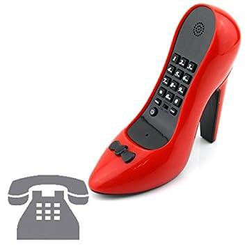 f1b90e702ced42 Téléphone vintage fixe filaire rétro rouge forme talon aiguille chaussure  design drole original geek maison