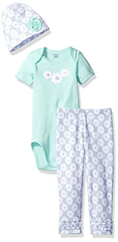 Gerber Baby Girls' 3-Piece Bodysuit, Legging and Cap Set, Daisies, 24 Months