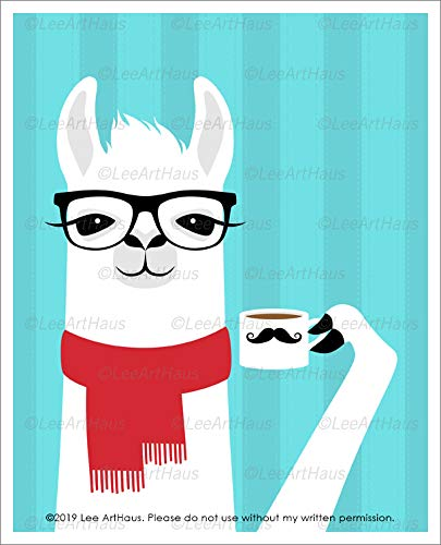(77J - Llama Wearing Red Scarf and Drinking Coffee Wall Art UNFRAMED Wall Art Print by Lee ArtHaus)