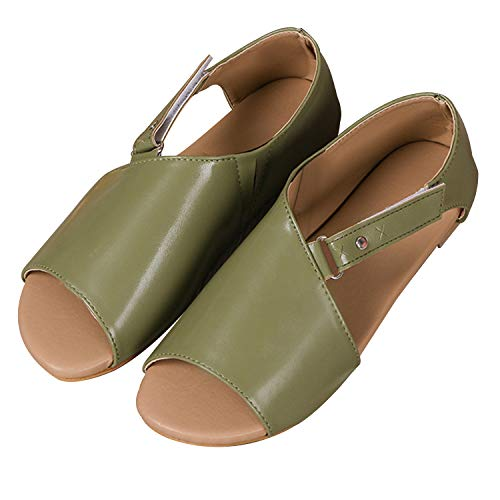 Women Flat Sandals Casual Summer Slip On Sandals Fish Mouth Slingback Peek Toe Flat Shoes Cork Sole Leather Flat Mayari Sandals