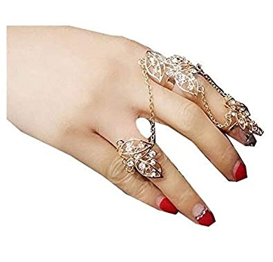 d2cdaa880e Buy Ginie'sWishKart Gold Metal Personality Fingertips Exquisite Diamond  Leaves Double with 3 Fingers Chain Ring for Women Online at Low Prices in  India ...