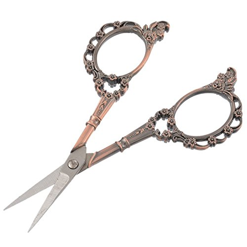 Jiansy Vintage Style Sewing Scissors Flower Antique Bronze Tone Artwork Embroidery Stationery DIY Crafts Accessories 1PC 11.4Cmx5.3Cm