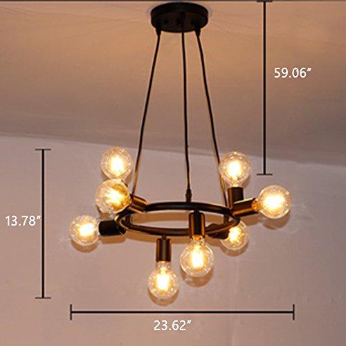 Industrial 8 Lights Chandelier - LITFAD Adjustable 24'' Wide Retro Hanging Pendant Light Vintage Ceiling Light in Open Bulb Style Black