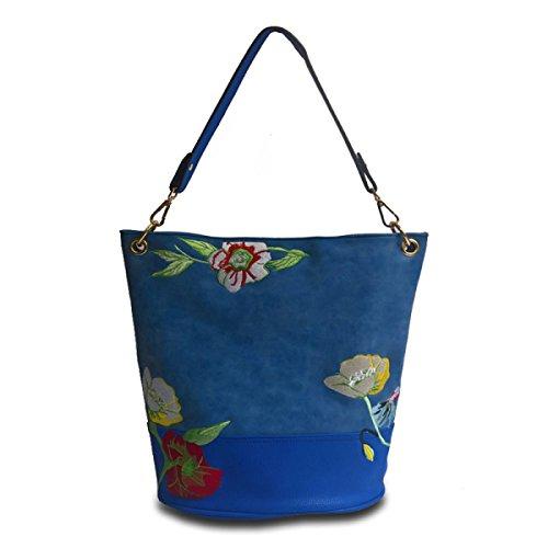 Nuevo Paquete De Bordado Las Mujeres De Moda Europa Y Los Estados Unidos Hombro Messenger Bag Blue