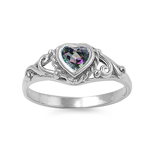 925 Sterling Silver Filigree Heart Simulated Mystic Topaz 7MM Cubic Zirconia Petite Rings Size 1