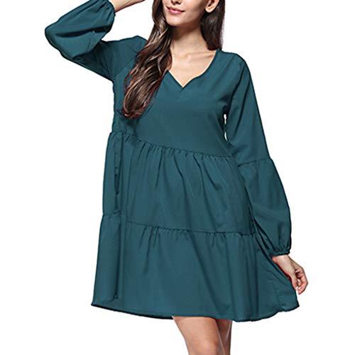 - Shisay Womens V Neck Lantern Long Sleeve Ruffle Tunic Dress Loose Swing Shift Dresses Navy