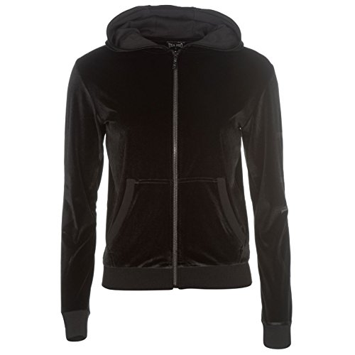 USA Pro Womens Velour Full Zip Hoodie Hoody Hooded Top Long Sleeve Black 12 (M) (Hoodies Womens Velour Zip)