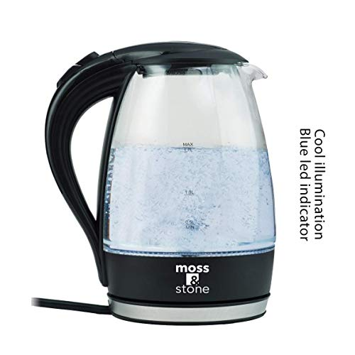 Moss & Stone Electric Glass Kettle with speed boil tech I 1.7 Liter Capacity I Cordless with LED illumination I Borosilicate I BPA Free I Auto Shut-off I Boil Dry Protection |1500 Watt (Tea Stone Glass)