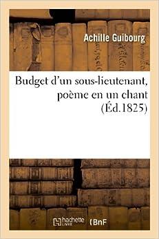 Budget D'Un Sous-Lieutenant, Poeme En Un Chant (Litterature)