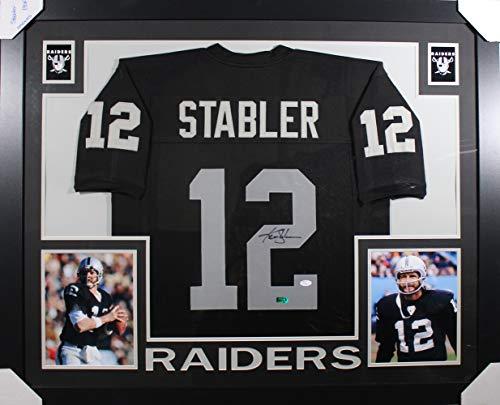 Ken Stabler Autographed Oakland Raiders Framed Black XL Jersey JSA - Ken Stabler Oakland Raiders Framed