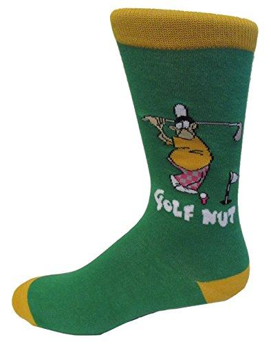 Mens Novelty Color Cotton Fancy Pattern Socks (1 Pair) (Golf Nut)