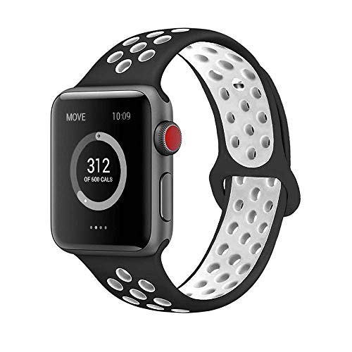 AdMaster Compatible for Apple Watch Bands 38mm,Soft Silicone Replacement Wristband for iWatch Apple Watch Series 1/2/3 - S/M Black/White