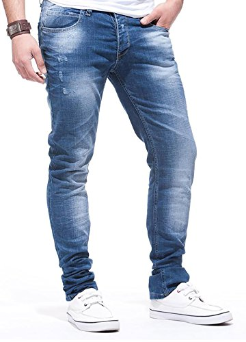 LEIF NELSON Herren Jeanshose Jeans Hose Chino low rise Skinny Slim Fit (W30/L32, Blau)