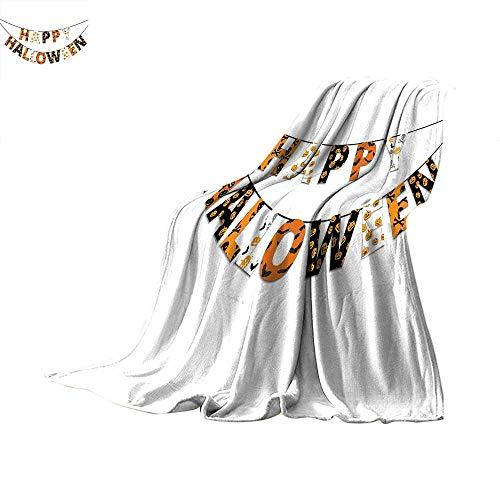 Halloween Personalized Blanket Happy Halloween Banner Greetings Pumpkins Skull Cross Bones Bats Pennant Thin Blanket Orange Black White. 60