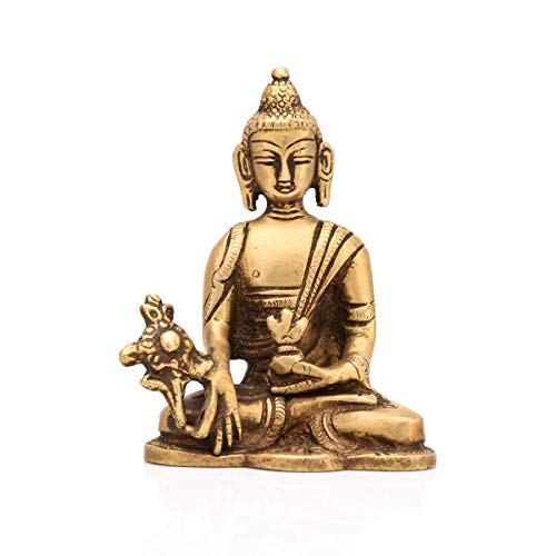 2 1/2' Tall Antique Brass - CraftVatika Brass Blessing Gautam Buddha Statue Sacred Kalash Buddhism Medicine Figurine