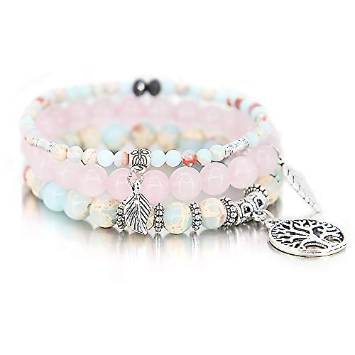 (3 Pcs Blue Bead Bracelet Friendship Yoga Ocean Charm Bracelet Boho Leaf Tree of Life Stretch Bracelet Cute Stackable Wrap Bracelet Set for Women Girl)