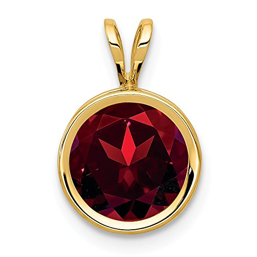 Garnet Gold Red Pendant - 14k Yellow Gold 8mm Red Garnet Bezel Pendant Charm Necklace Gemstone Fine Jewelry Gifts For Women For Her