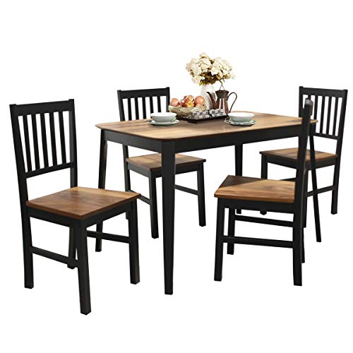 Giantex 5 Piece Dining Set with 4 Chairs, Solid Wood Frame, Dining Kitchen Table Set for 4 Person, Home Furniture Set for Kitchen, Dinning Room and Apartment (Walnut & Black)
