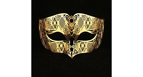 Masquerade Mask Gold (Men Gold Masquerade Masks Laser Cut Metal Venetian Mask Many Designs by Yacanna)